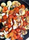 肉入り芋もちちくわフレッシュトマトオイ煮