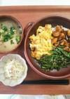 お昼ごはん!いんげんの胡麻あえ 三色丼