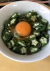 野沢菜昆布とオクラのネバネバ丼