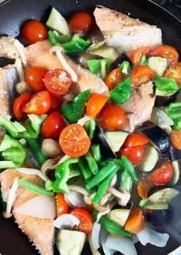 ゴロゴロ野菜鮭アクアパッツァ風