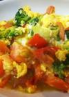 簡単中華・卵とトマトとブロッコリーの炒め