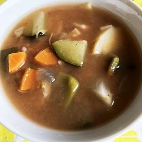 冷たくして美味しい具沢山スープ