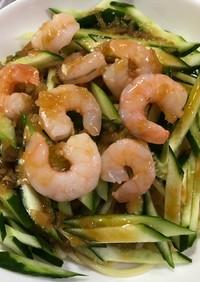 焼きそば麺でキュウリとゆでエビの冷し中華