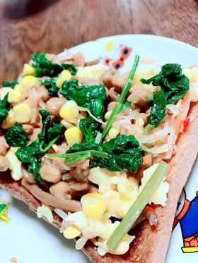 ビビンバ納豆×食パン