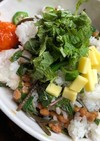 たっぷり大葉のネバネバ納豆丼