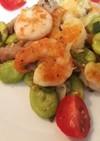 鹿児島そら豆と白姫えびの炒め物