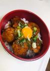 ニンニク甘醤油タレ☆豆腐と蓮根のつくね丼