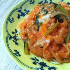 ウインナーと小松菜のトマトクリームパスタ