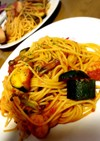 夏野菜ズッキーニのトマトガーリックパスタ