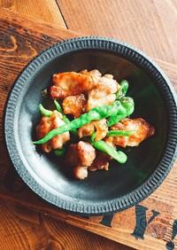 ししとうがらしと鶏のスタミナ味噌炒め❤️