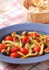簡単副菜♪しめじとミニトマトマリネソテー