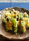 海苔と紅生姜入りゴーヤの天ぷら