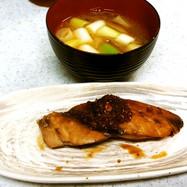 ぶり生姜ユズポン&長ネギとミョウガ味噌汁