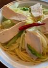 鶏ハムキャベツのペペロンチーノ