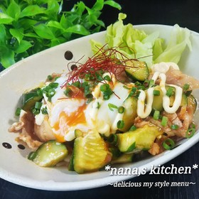 豚バラとキュウリのスタミナサラダご飯&麺