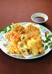 天ぷらと野菜のかき揚げ