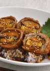 【きのこ】椎茸とズッキーニの肉巻き丼