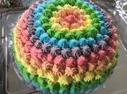 レインボー風カラフルドームケーキの写真