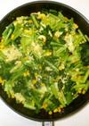 小松菜と卵の野菜炒め♪簡単フライパンで