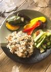 簡単和食☆乾物と亜麻仁油のオイルライス