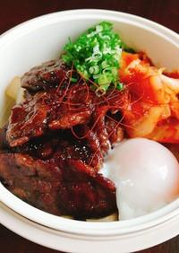 トンテキのタレで!ガッツリ牛キムチ丼