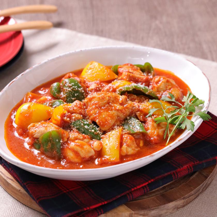 鶏肉のつゆうまトマト煮