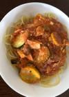 鯖缶とズッキーニのトマトパスタ