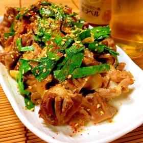 砂肝(砂ずり)とニラの塩ダレ炒め☆