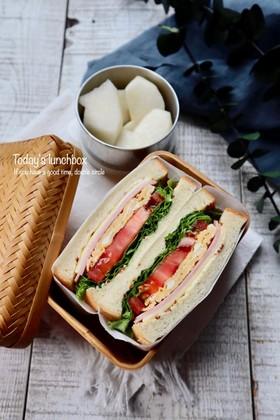 具沢山サンド(ハム・チーズ・玉子・野菜)