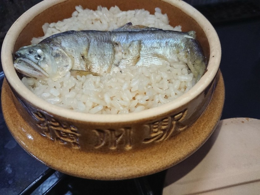 峠の釜めし土鍋で鮎釜めし