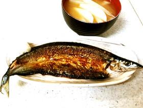♪♪フライパン秋刀魚焼き&大根味噌汁♪