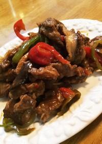 牛肉カルビのピリ辛炒め!野菜たっぷりです