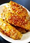 ジューシー鶏肉!手羽中の甘辛ごま醤油焼き