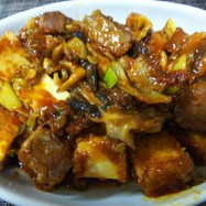 簡単中華・サイコロ牛と揚げ豆腐の麻辣炒め