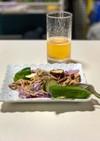 簡単!豚肉と夏野菜の紫パスタ♪