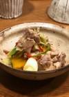 創味の塩だれと柚子胡椒の炒め物