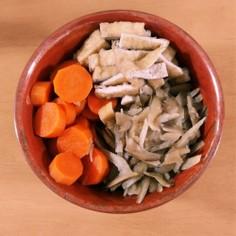 にんじん、油揚げ、ごぼうの煮物(弁当用)