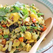 黒千石と野菜と雑穀のスパイシー炒飯の写真