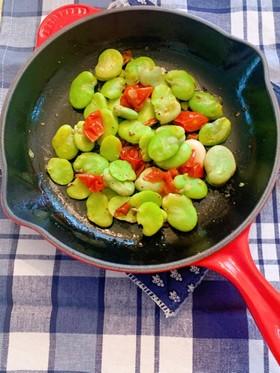 そら豆とドライトマトのアーリオオーリオ