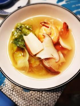 簡単 レタスとエリンギとエビのスープ