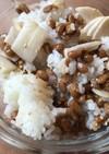 いぶりがっこ風漬物で納豆ご飯