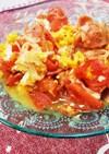 簡単副菜♪トマトベーコンカニカマの卵炒め