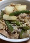 豚肉と長いものバタポン炒め