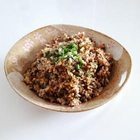ひきわり納豆と高菜の炒飯