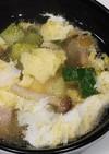 ハム、ズッキーニ、シメジ、卵の中華スープ