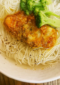 温かい味噌キムチ素麺