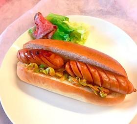 朝食に!ケチャップカレーのホットドッグ