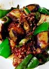 茄子とピーマンと挽肉の甜麺醤炒め