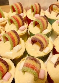 ユニコーンレインボーカップケーキ