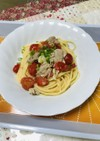 柿酢と味噌とオリーブ油のパスタ